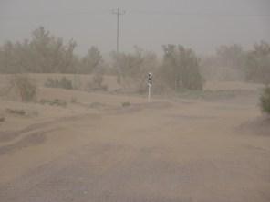 Sandsturm auf dem Weg nach Mesr
