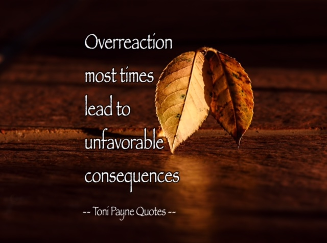 Quote about overreacting and consequences