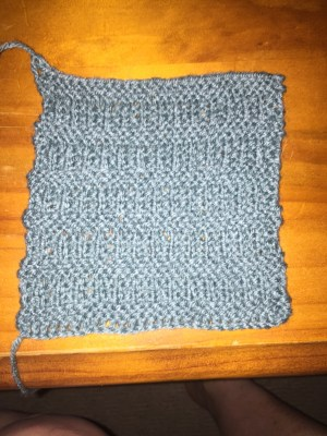 Mock Rib with Garter Stitch Stripes Square