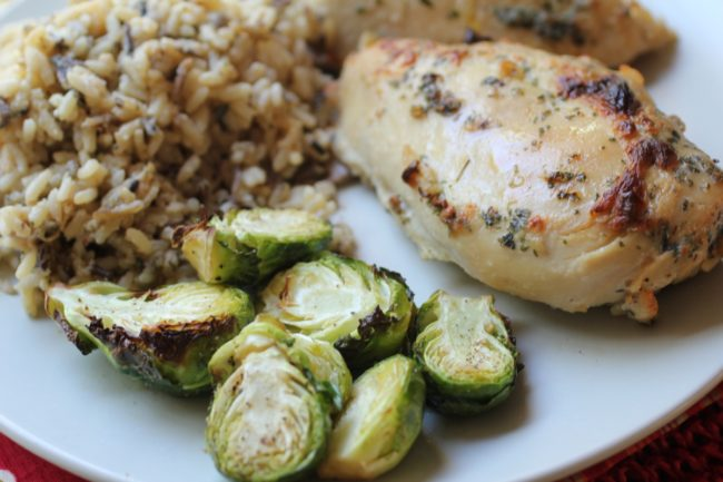 Chicken with Wild Rice and Roasted Brussels Sprouts