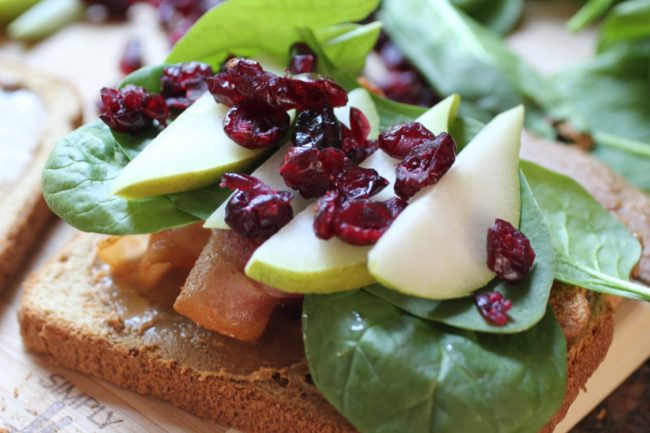 Bacon Spinach Pear Sandwich with Dried Cranberries & Red Wine Sauce Sandwich