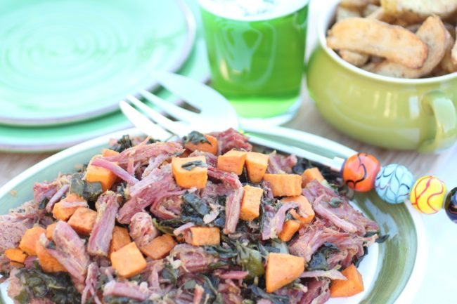 Roasted Corned Beef Swiss Chard and Sweet Potatoes from The Organized Cook