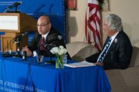Iraq Ambassador to the United States Lukman Faily and AU Professor Dr. Abdul Aziz Said in a talk at American University on February 18th. ©Toni Ti