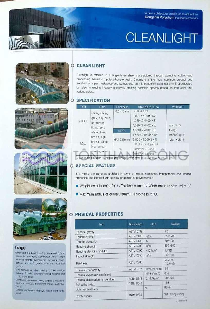 Catalog Trang 5 - CleanLight - Tấm Polycarbonate Lấy Sáng Đặc Ruột Hàn Quốc