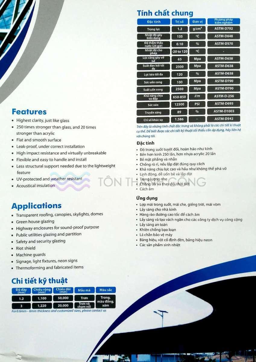 Catalog Trang 3 - SOLARFLAT, Tấm Polycarbonate Đặc Ruột Indonesia