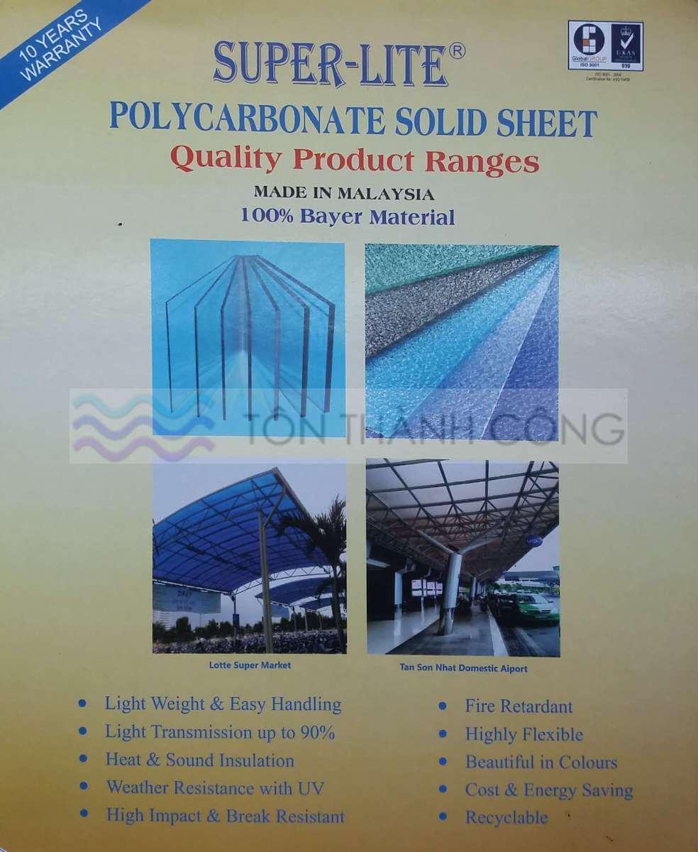 Catalog - Trang 1 - SUPERLITE, Tấm Polycarbonate Đặc Ruột Malaysia
