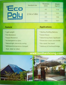 Catalog Trang 3 – ECOPOLY, Tấm Polycarbonate Rỗng Ruột Thái Lan