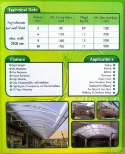 Catalog Trang 3 – POLYTOP, Tấm Polycarbonate Rỗng Ruột Thái Lan
