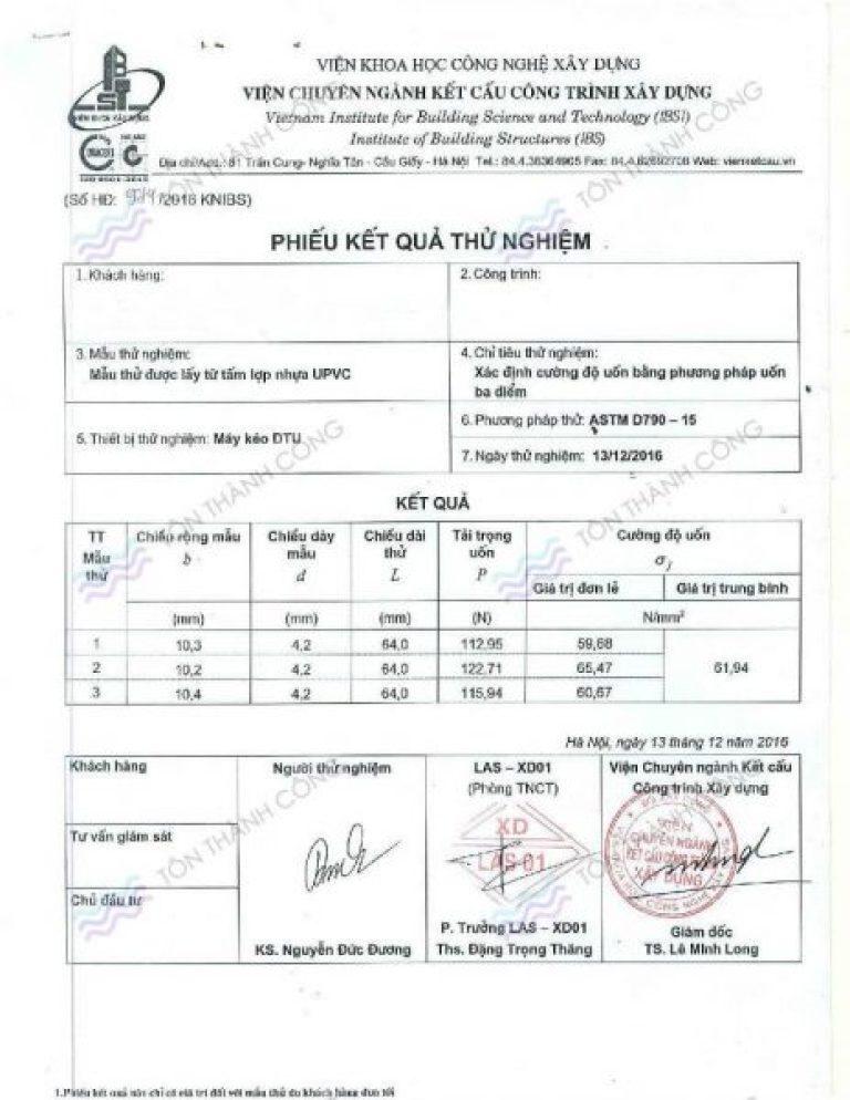Kết quả thử nghiệm - Tính chất vật lý - Tôn kháng ăn mòn PVC-A - Trang 5