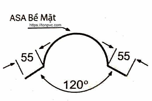 Bản vẽ mặt cắt của Tấm Úp Đuôi Mái, phụ kiện Ngói Nhựa Tổng Hợp ASA/PVC