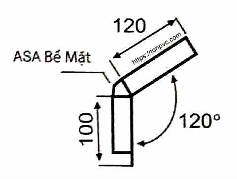 Bản vẽ mặt cắt của Tấm Viền Mái Mái, phụ kiện Ngói Nhựa Tổng Hợp ASA/PVC