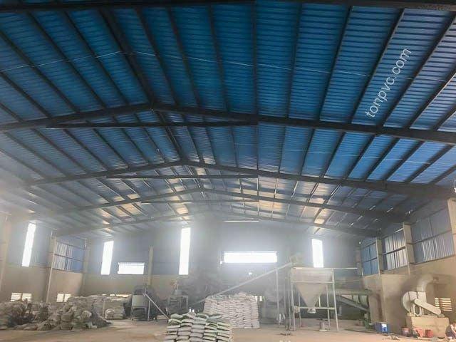 Hình 03 : hệ khung Nhà máy phân bón Sao Nông - Thanh Hóa, Tôn Nhựa ASA/PVC màu Xanh Dương