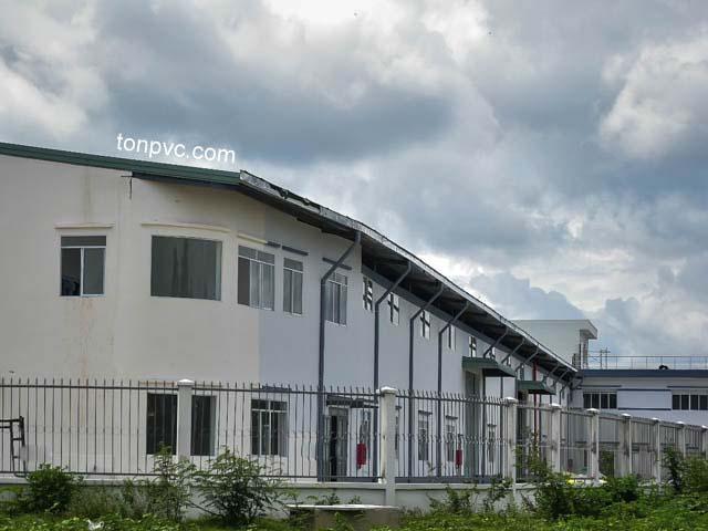 Hình 02 : hoàn thiện Nhà máy giấy Hải Sơn - Long An, Tôn Nhựa ASA/PVC màu Xanh Ngọc