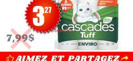 Emballage de 6 rouleaux Jumbo de papier essuie-tout Cascades Tuff à 3,27$ au lieu de 7.99$