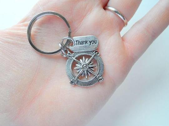 thank you compass key chain for mentor