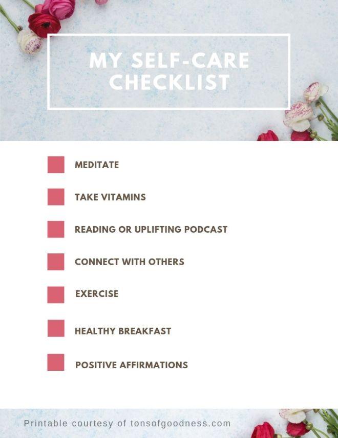 self care checklist for download