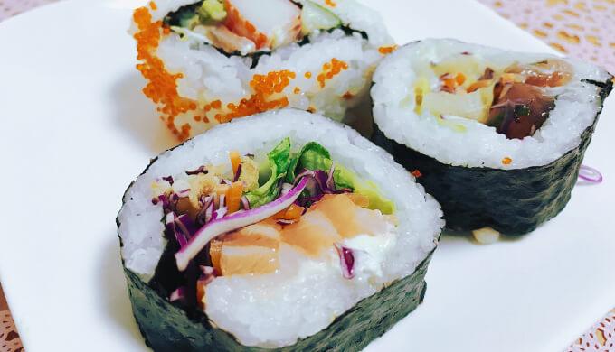 寿司サラダ巻き(盛り付け)