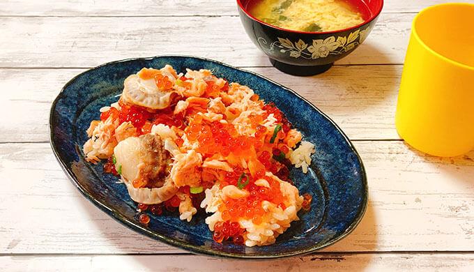 サーモンいくらちらし寿司(盛付)