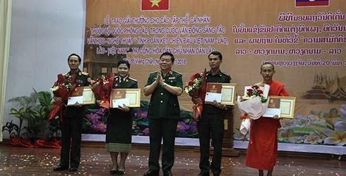 """Trao Giải thưởng sáng tác văn học, nghệ thuật về """"Tình đoàn kết chiến đấu ba nước Việt Nam-Lào-Campuchia"""""""