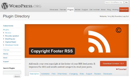 Page du plugin Copyright Footer RSS après la bannière