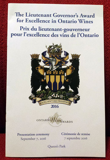The Lieutenant Governor's Award for Excellence in Ontario Wines | Prix du lieutenant-gouverneur pour l'excellence des vins de l'Ontario ¶ Presentation ceremony, September 7, 2016 | Cérémonie de remise, 7 septembre 2016 ¶ Queen's Park