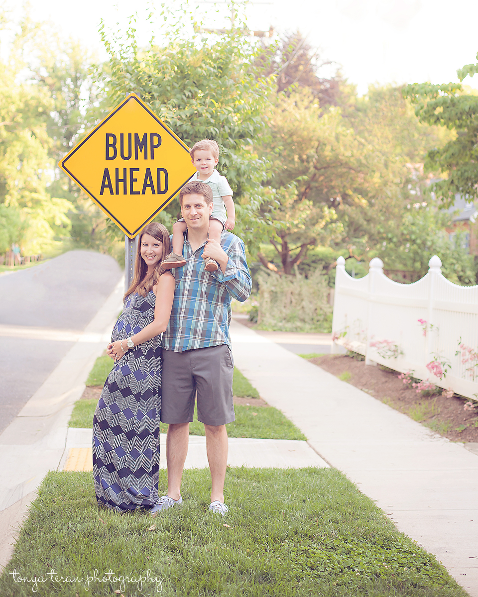 Pregnancy Announcement Idea - Bump Ahead Sign | Rockville, MD Newborn Baby and Family Photographer