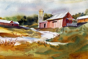 """""""Farm"""" - watercolor landscape painting by Tony Conner"""