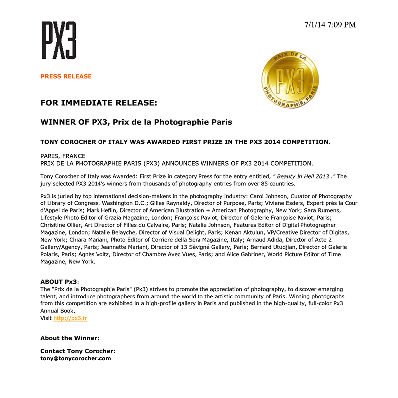 PX3 PRESS RELEASE - COMUNICATO STAMPA