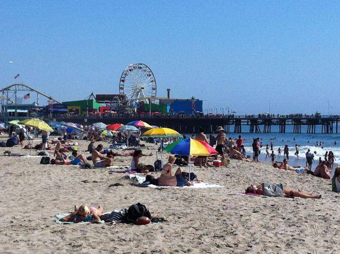 Santa Monica pier de fondo