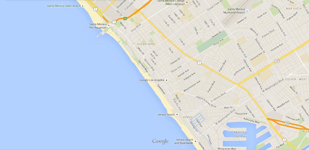 Mapa Venice beach + Santa Mónica