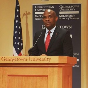 Tony Elumelu delivers a speech at the Georgetown University McDonough School of Business