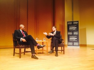 Tony Elumelu and Steve Radelet during the Q & A session at Georgetown University