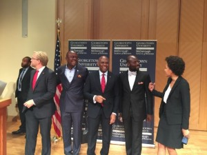 L-R: Dr. Wiebe Boer, Director of Strategy at Heirs Holdings; Valentine Ozigbo, CEO of Transnational Hotels Plc; Tony Elumelu; Chika Mordi, CEO of the National Competitiveness Council of Nigeria; and Lola Obembe, Executive Assistant to the Chairman of Heirs Holdings