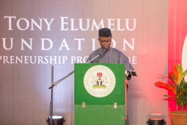 Vice-President of Nigeria, Prof. Yemi Osinbajo addressing the crowd.