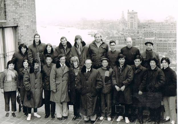 NZ and Chinese players and officials overlooking the Bund, Shanghai 1974