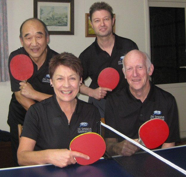 Yvonne with local team mates: Wang Qi, David Shelton and Brian Foster