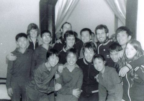 The New Zealand players with the Shanghai Youth Team, 1974