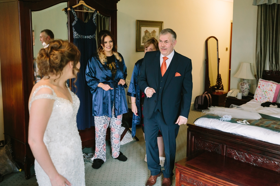 dad sees daughter in wedding dress at Seiont manor wedding