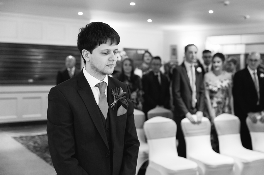 groom waiting for bride at Seiont manor wedding ceremony