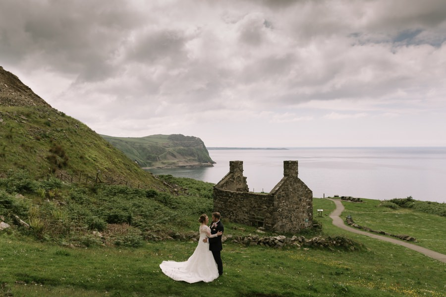 bride and groom at cottage at Nant Gwrtheyrn. Get married in North Wales