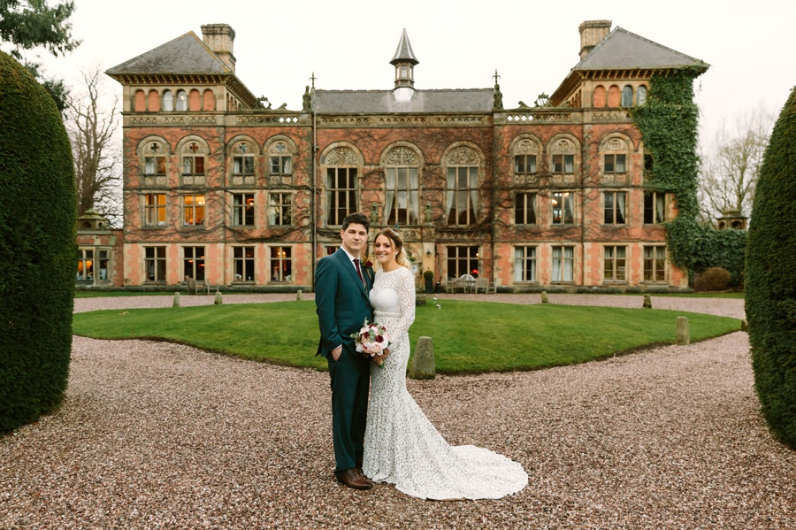 bride and groom at Soughton Hall. Get married in North Wales
