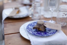 Mismatched plates for a wedding placesetting