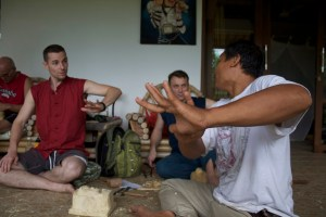 Nyoman shows off his dancing hands. Carvers are also dancers.