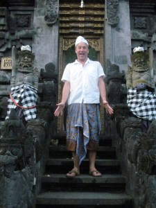 At the entrance to the temple, all of which was carved from volcanic rock.