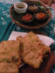 Tempe, a favorite of mine for many years, is an Indonesian food that is a fermented soybean cake. As pictured here, it also battered and fried and served with several types of spicy sambal.