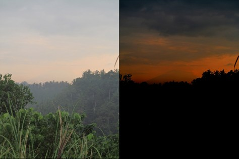 At left, how the camera captured Mt. Agung on my last morning walk. However, it was much more visible to the naked eye. At right, a highly altered photograph reveals the outline of the peak. Tricksy mountain.