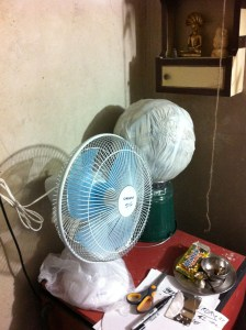 Cooling the workspace and decreasing drying time for papier mache—good work, fan.