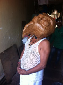 This parrot mask, modeled perfectly by  Shahish,  was built on basket augmented by newspaper, cardboard, and cello tape.