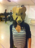 I made these cartooned masks from cardboard and bike tire.