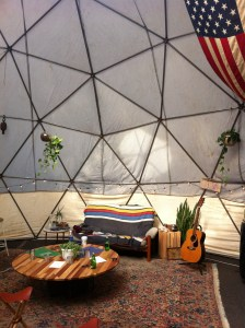 Inside of a (rather comfy)  geodesic dome temporarily set up in Portland in 2013.